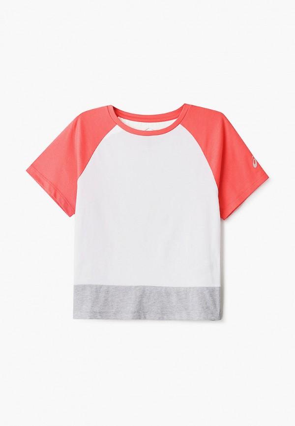 футболка asics для девочки, разноцветная