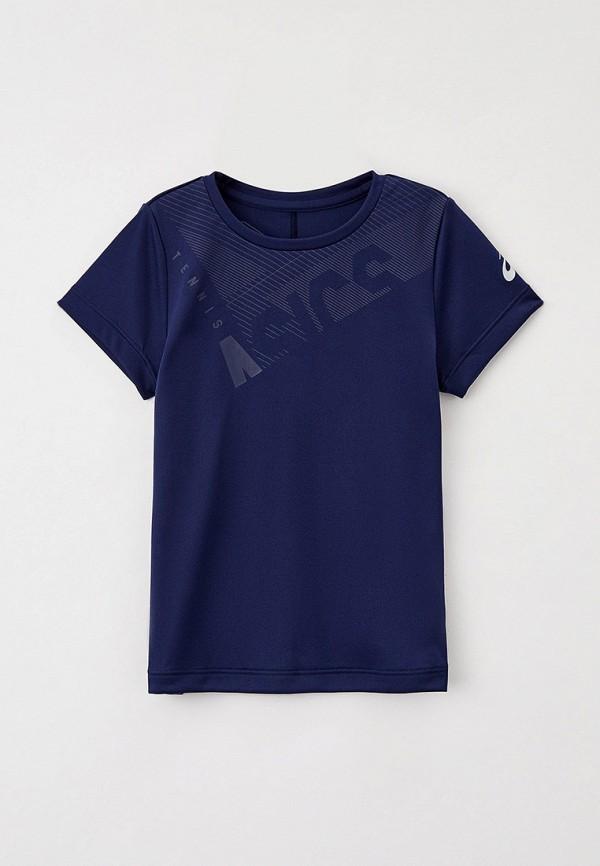 футболка с коротким рукавом asics для девочки, синяя
