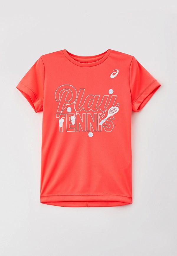 футболка с коротким рукавом asics для девочки, розовая