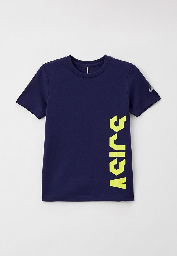 футболка с коротким рукавом asics малыши, синяя