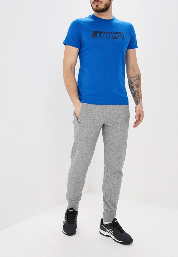 Фото 2 - мужскую футболку ASICS синего цвета