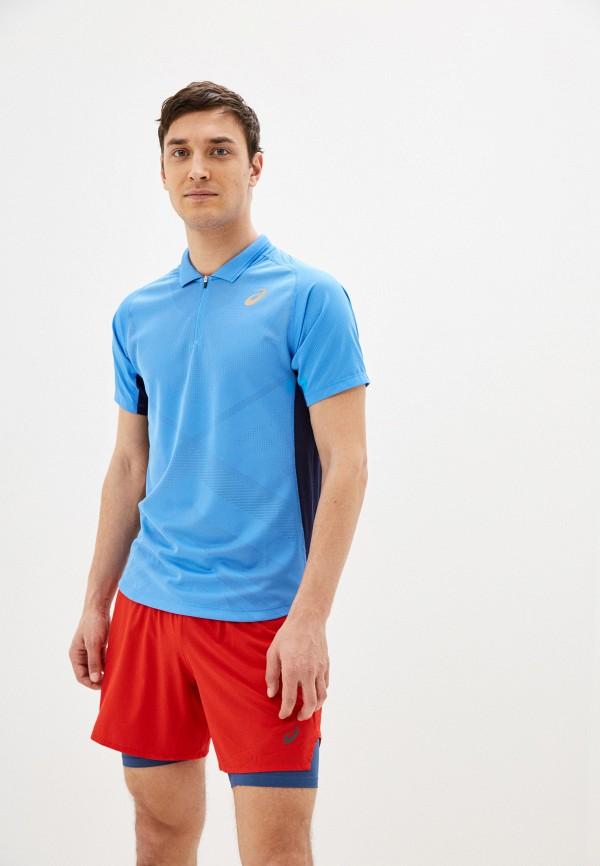 мужское поло asics, голубое