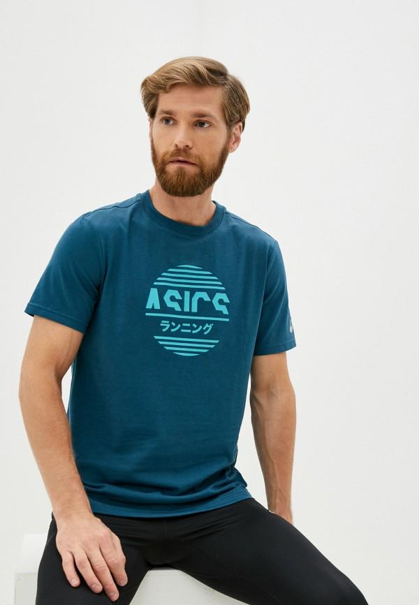 мужская спортивные футболка asics, бирюзовая