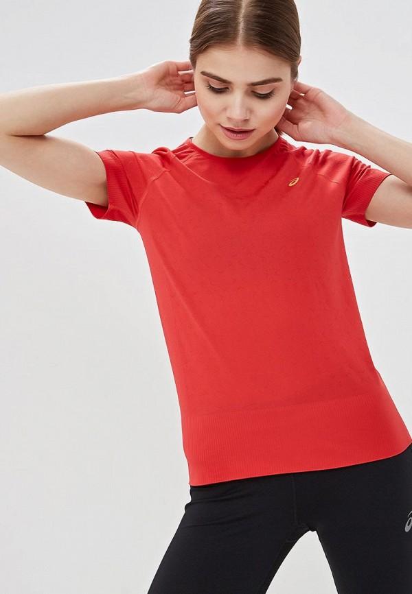 женская спортивные футболка asics, красная
