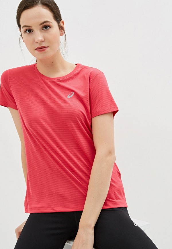 женская спортивные футболка asics, розовая