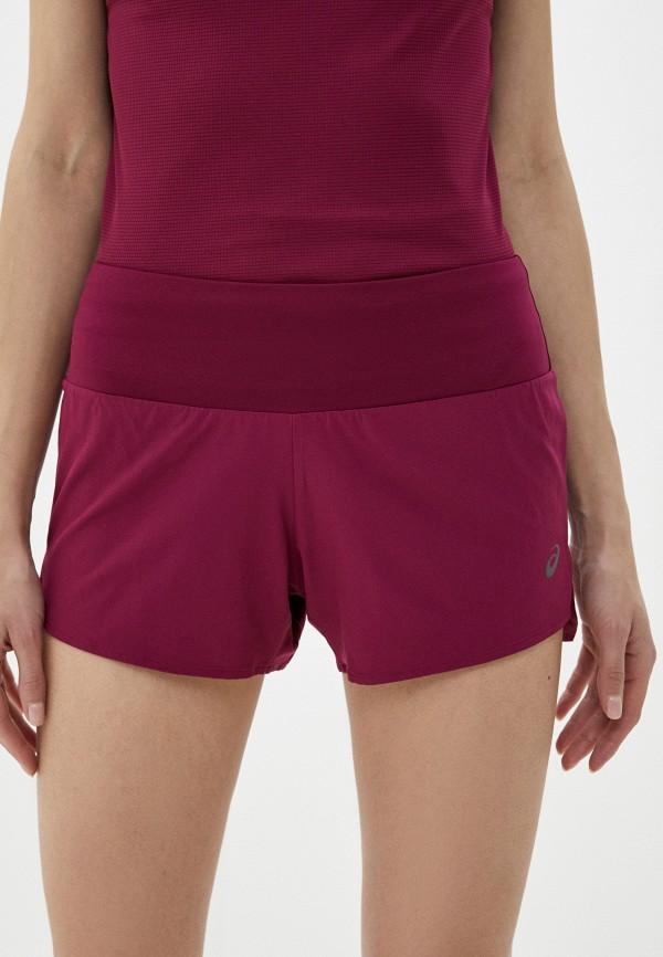 женские спортивные шорты asics, бордовые