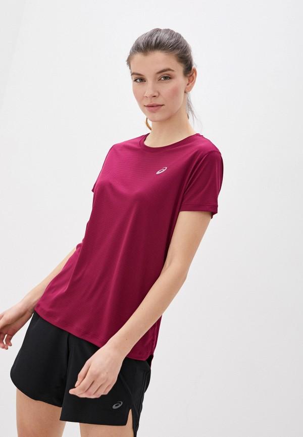 женская спортивные футболка asics, бордовая