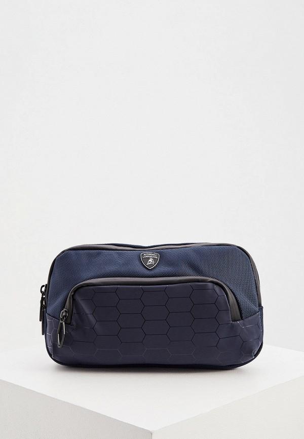 мужская поясные сумка automobili lamborghini, синяя