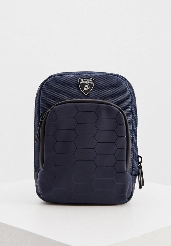 мужская сумка через плечо automobili lamborghini, синяя