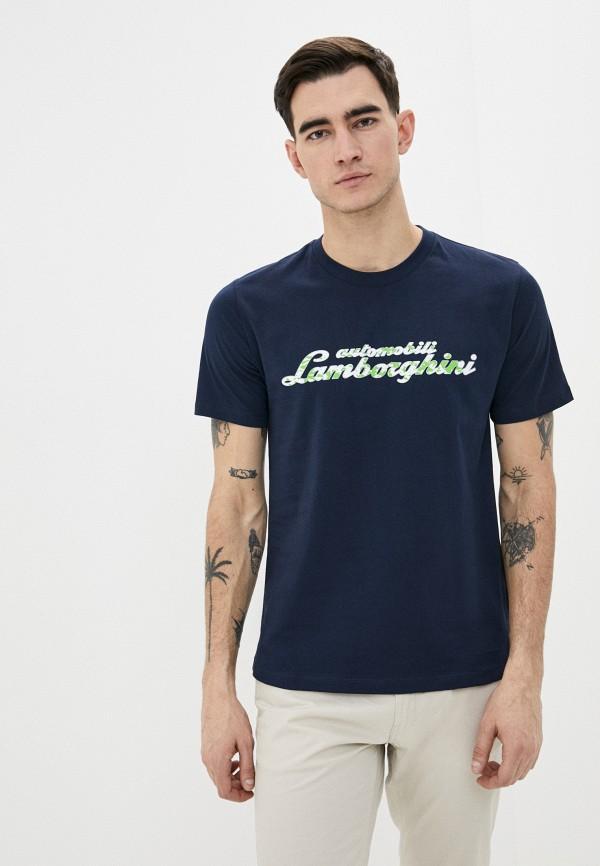 Фото - Мужскую футболку Automobili Lamborghini синего цвета