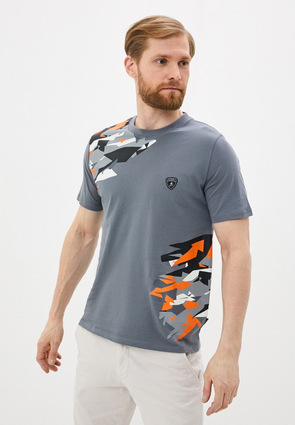мужская футболка automobili lamborghini, серая