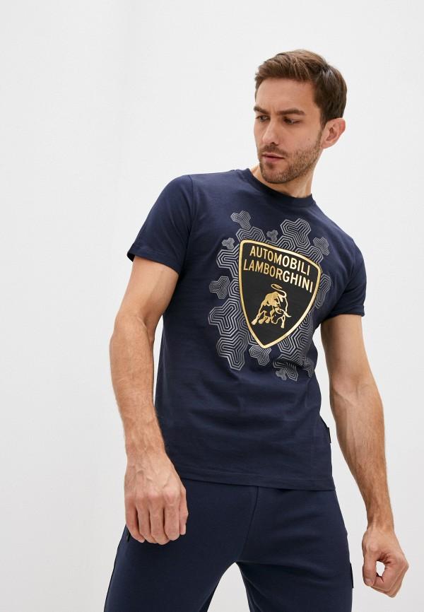 мужская футболка automobili lamborghini, синяя