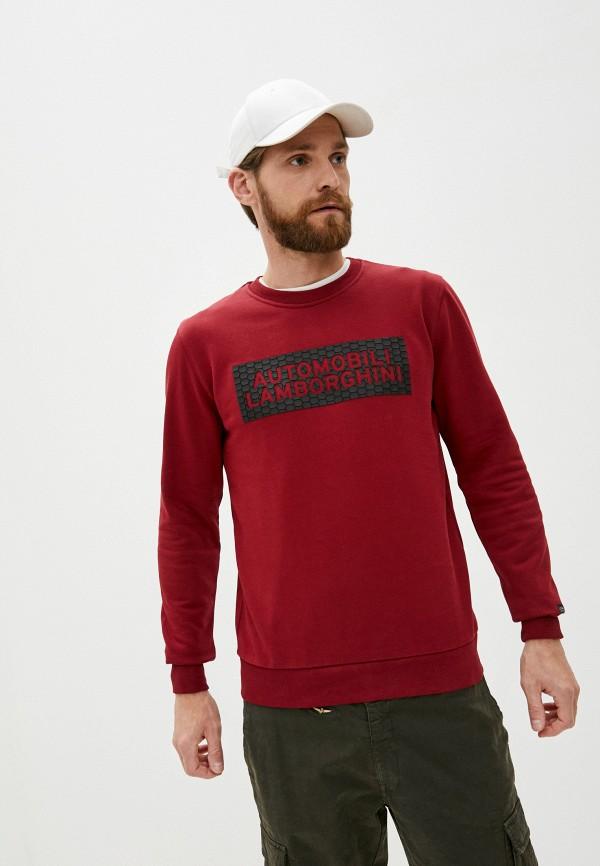 мужской свитшот automobili lamborghini, бордовый