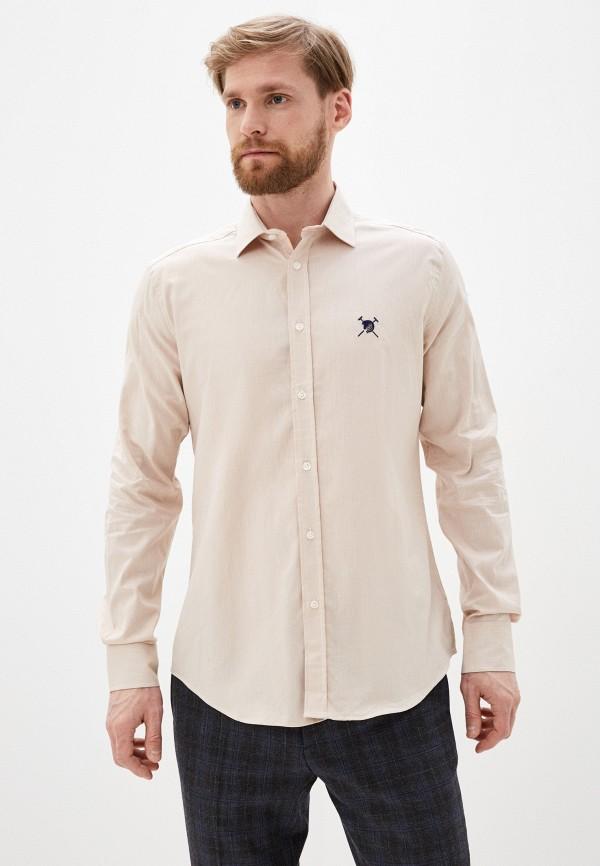 мужская рубашка с длинным рукавом auden cavill, бежевая