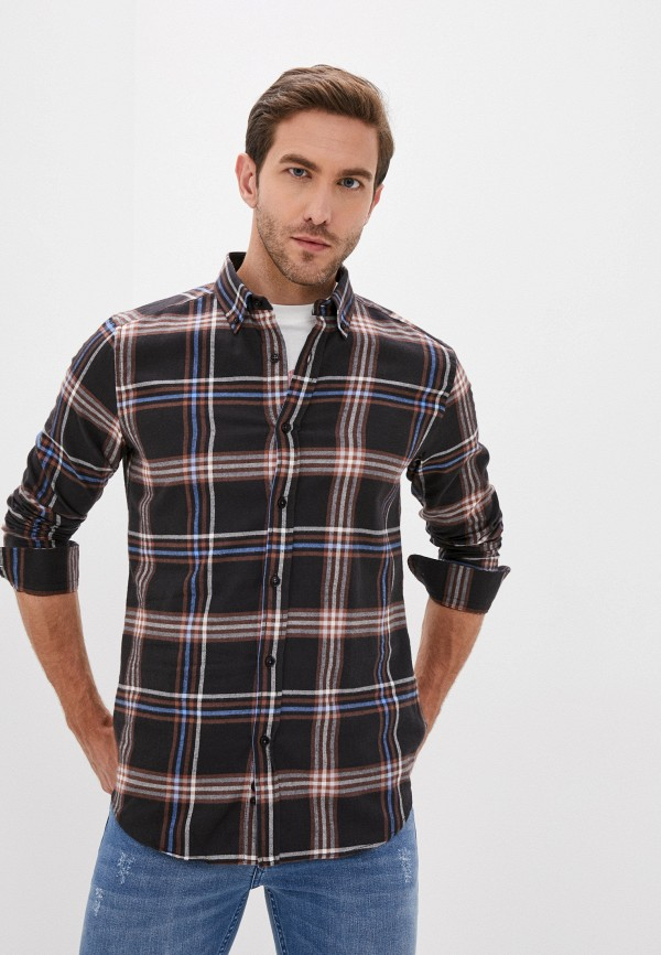 мужская рубашка с длинным рукавом auden cavill, коричневая