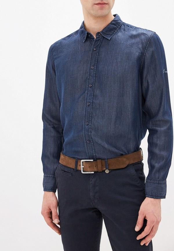 мужская рубашка с длинным рукавом avirex, синяя