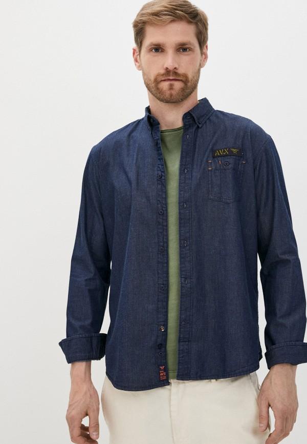 мужская джинсовые рубашка avirex, синяя