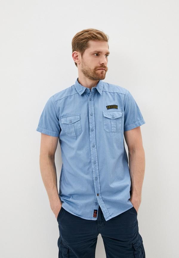 мужская рубашка с коротким рукавом avirex, синяя