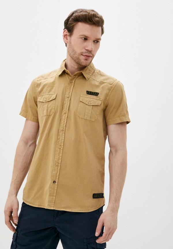 мужская рубашка с коротким рукавом avirex, бежевая