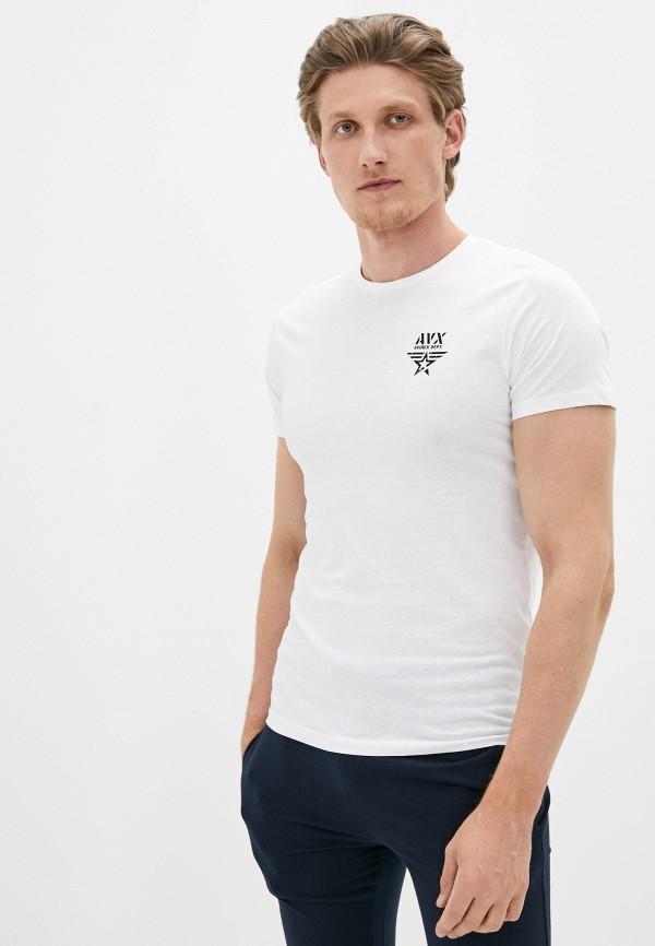 мужская футболка с коротким рукавом avirex, белая
