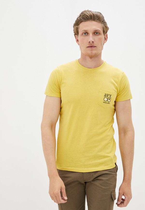 мужская футболка с коротким рукавом avirex, желтая