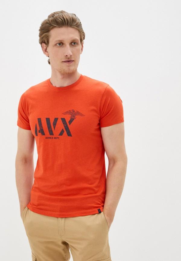 мужская футболка с коротким рукавом avirex, оранжевая