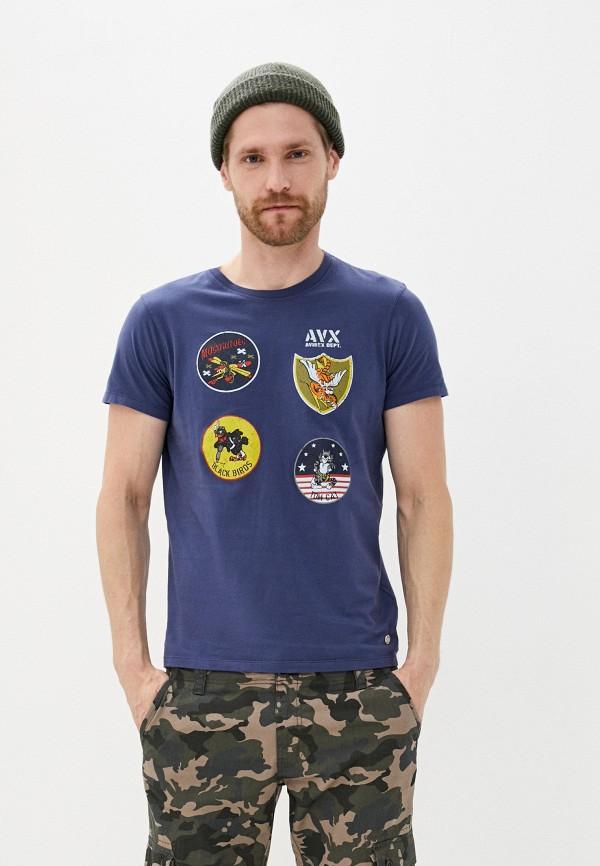 мужская футболка с коротким рукавом avirex, синяя
