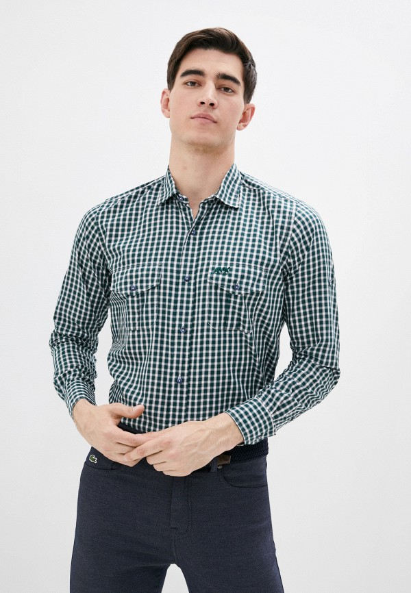 мужская рубашка с коротким рукавом avirex, зеленая