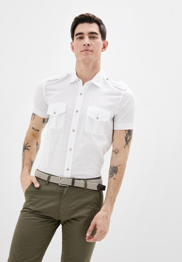 мужская рубашка с коротким рукавом avirex, белая