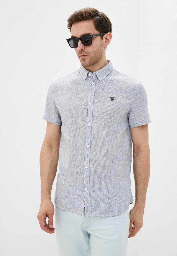 мужская рубашка с коротким рукавом baon, голубая