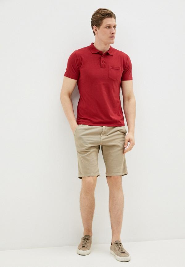 Фото 2 - Мужское поло Baon бордового цвета