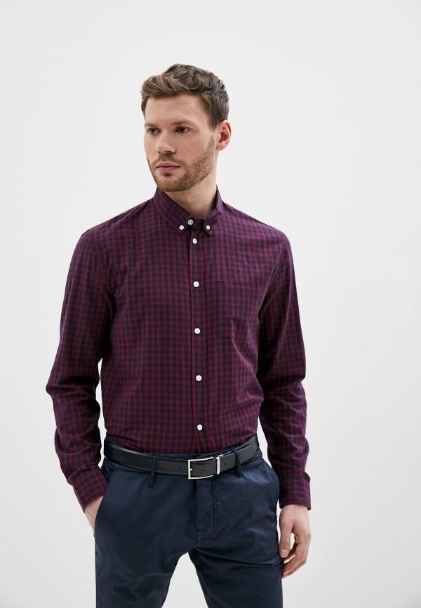 мужская рубашка с длинным рукавом baon, бордовая