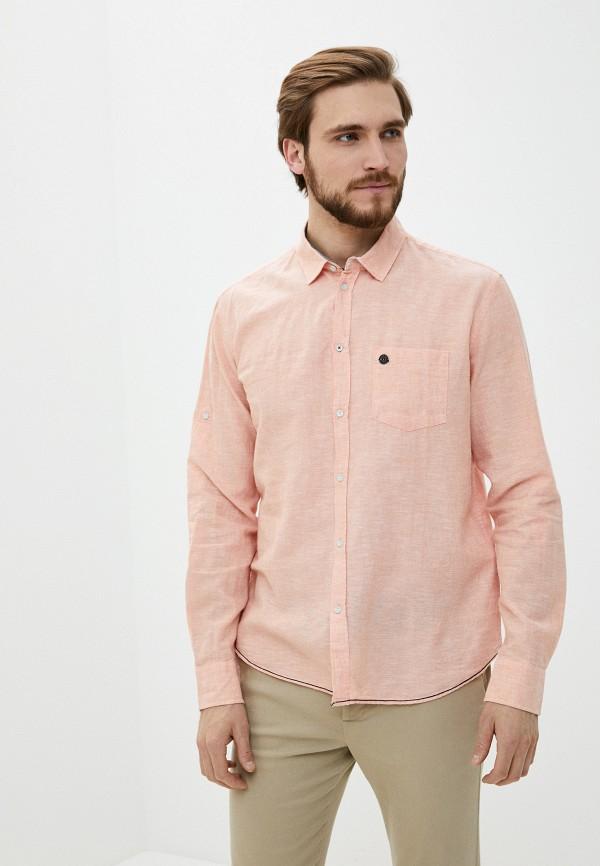 мужская рубашка с длинным рукавом baon, розовая
