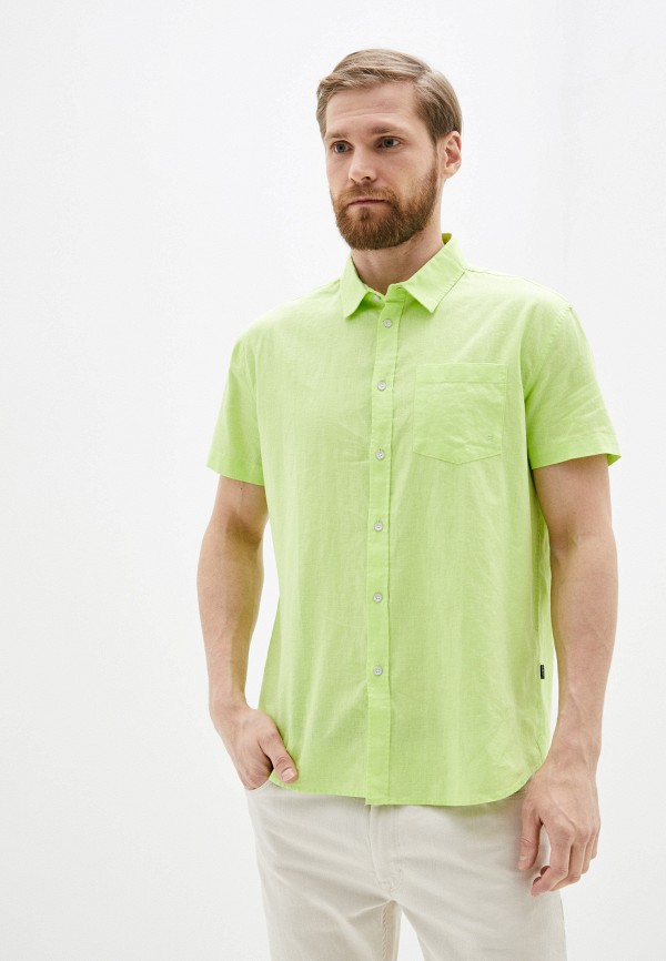 мужская рубашка с коротким рукавом baon, зеленая