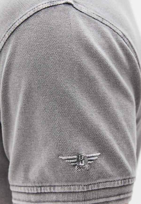 Фото 4 - Мужское поло Baon серого цвета