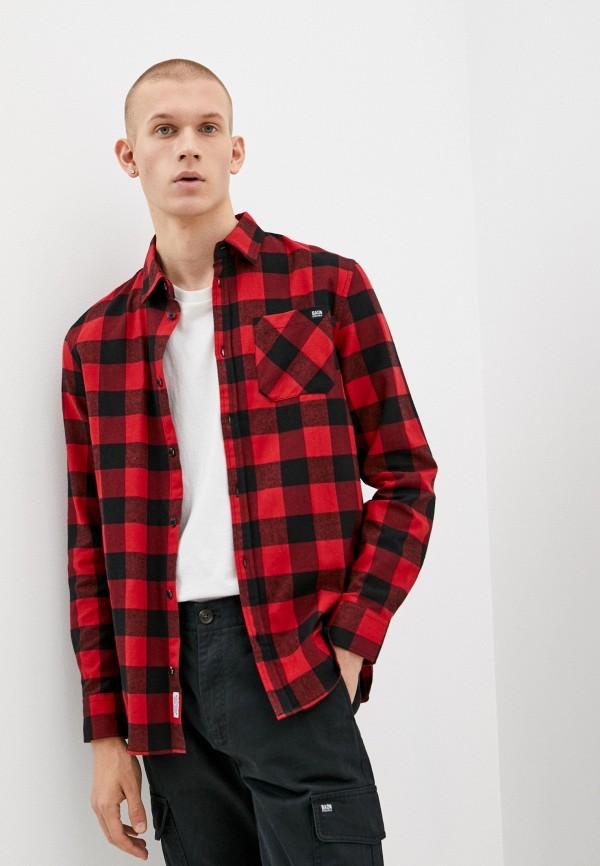 мужская рубашка с длинным рукавом baon, красная