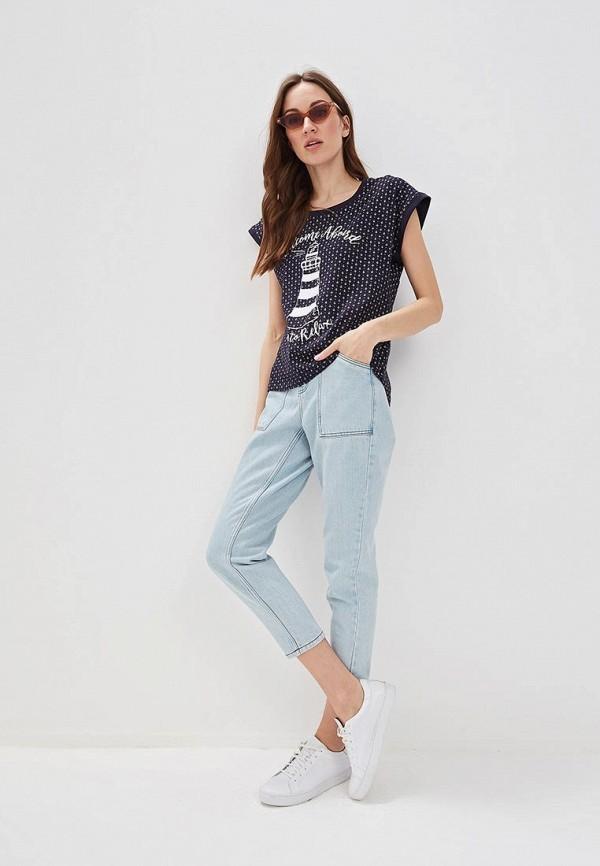 Фото 2 - женскую футболку Baon синего цвета