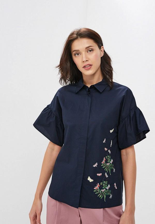 женская рубашка с коротким рукавом baon, синяя