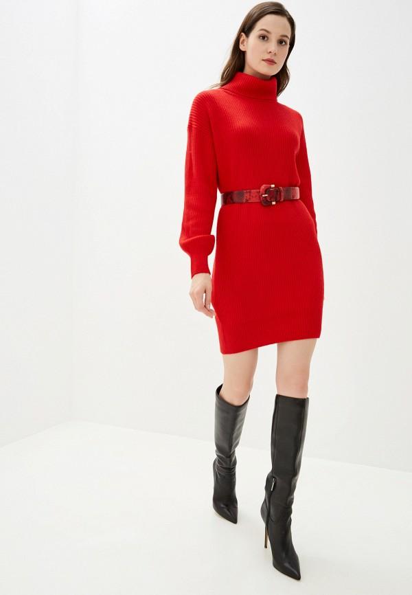 Фото 2 - Женское вязаное платье Baon красного цвета