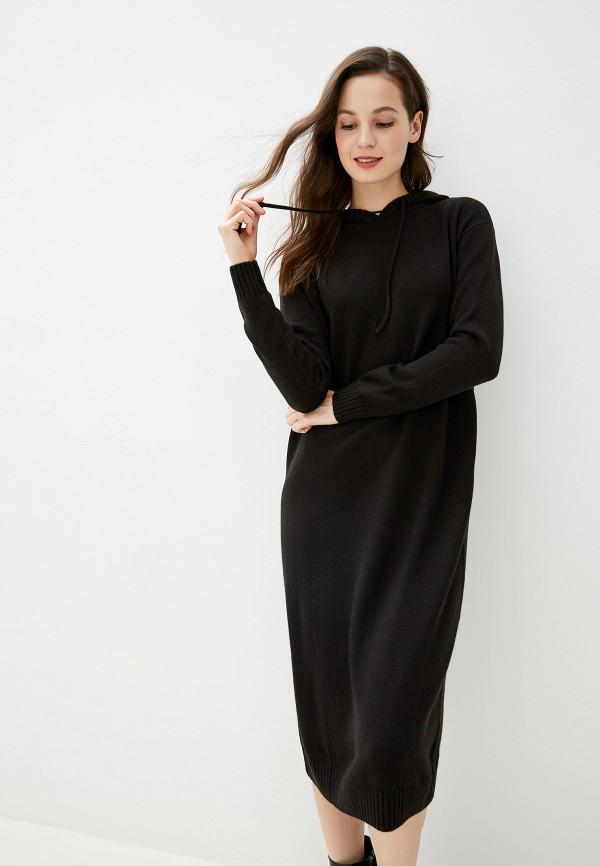 Фото - женское вязаное платье Baon черного цвета