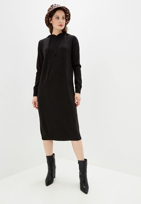 Фото 2 - женское вязаное платье Baon черного цвета
