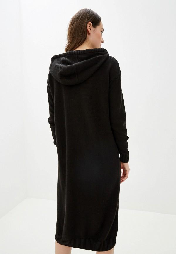 Фото 3 - женское вязаное платье Baon черного цвета