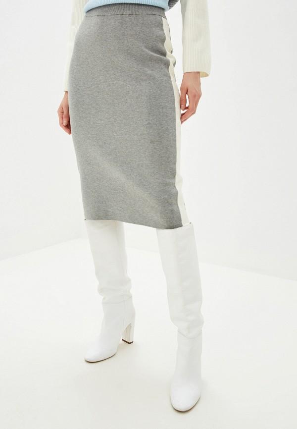 Фото 4 - женскую юбку Baon серого цвета