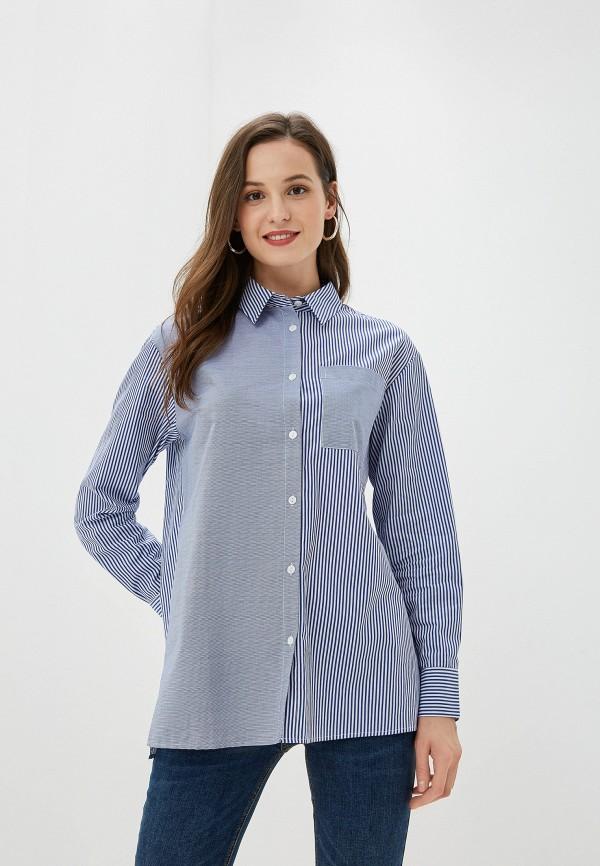 женская рубашка с длинным рукавом baon, синяя