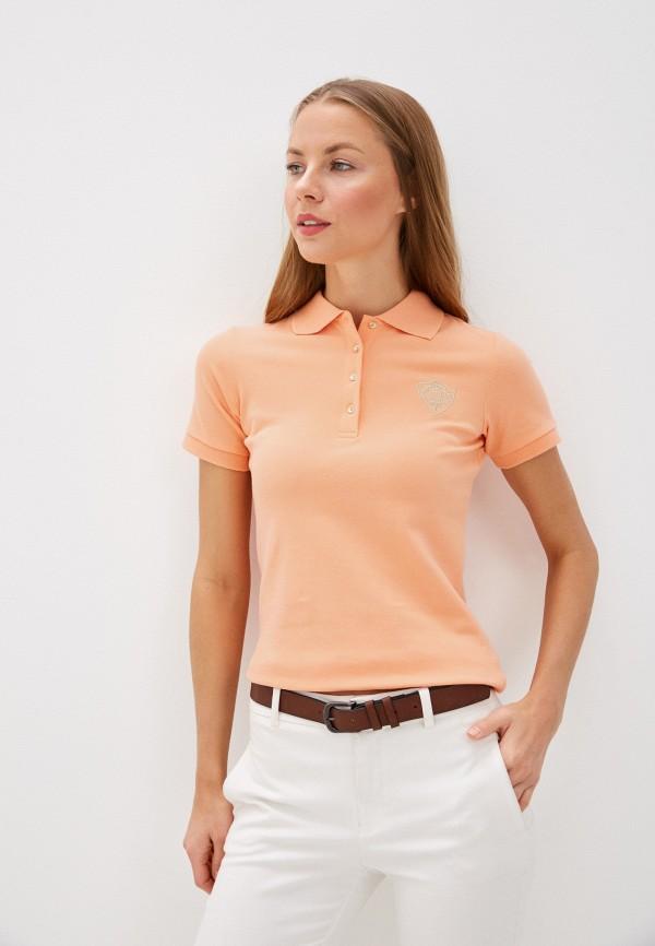 женское поло baon, оранжевое