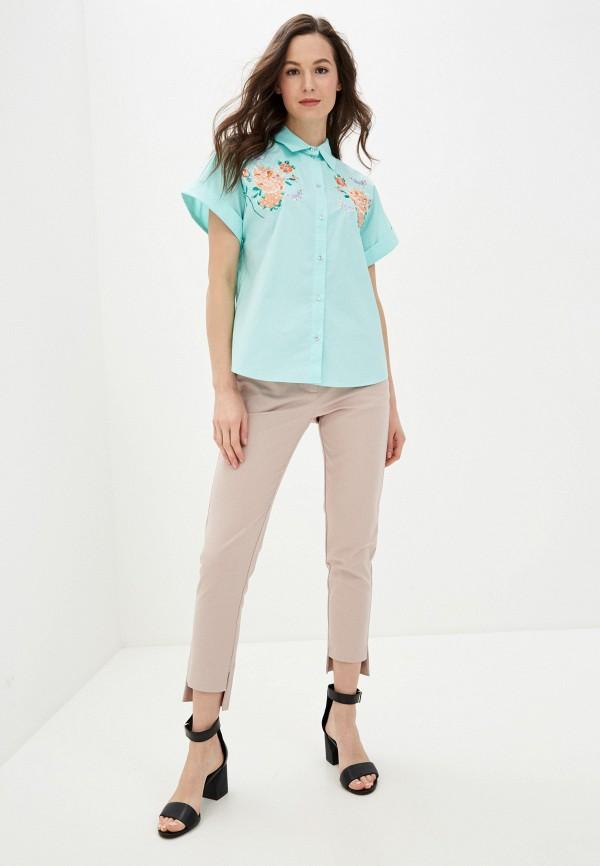 Фото 2 - Женскую рубашку Baon бирюзового цвета