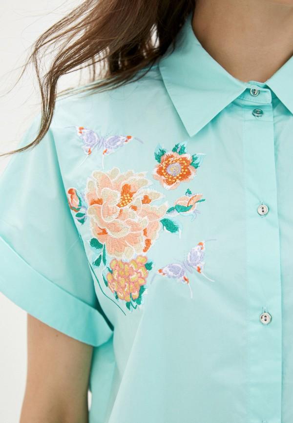Фото 4 - Женскую рубашку Baon бирюзового цвета