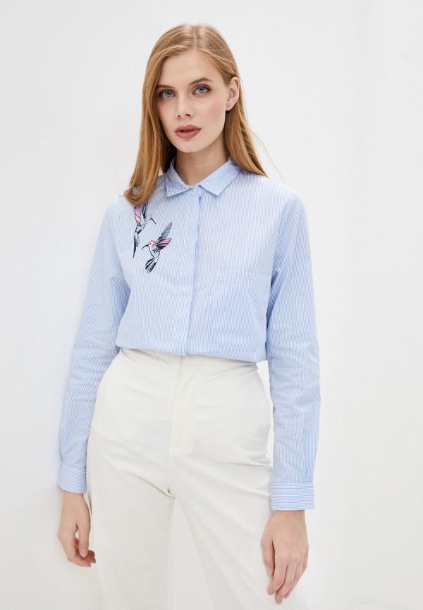 женская рубашка с длинным рукавом baon, голубая
