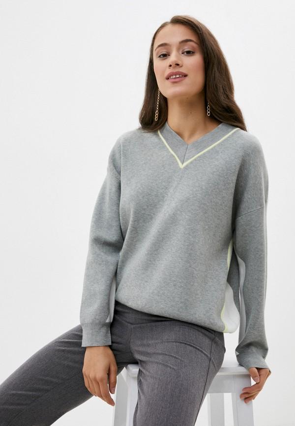 женский пуловер baon, серый