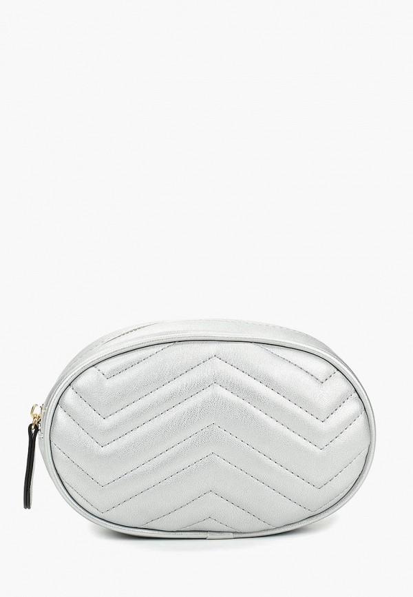 женская сумка baggini, серебряная